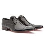 Sapato Social Masculino Estilo Italiano De Amarrar Branco Solado De Couro 307 preto verniz