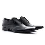 Sapato Clássico Masculino De Amarrar Mouro Solado De Couro 341 Preto