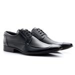 Sapato Social Masculino De Cadarço Preto Sola De Couro 371 Preto