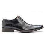 Sapato Brogue Masculino De Amarrar Preto Solado Em Couro 657 Preto