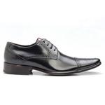 Sapato Brogue Masculino De Amarrar Preto Solado Em Couro 658 Cromo Preto