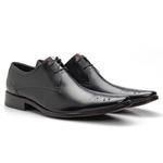 Sapato Brogue Masculino De Amarrar Preto Solado Em Couro 659 Cromo Preto