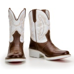 Bota Texana Masculina Solado Branco Country Couro 019 Pinhão e Branco
