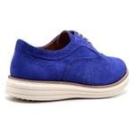 Sapato Oxford Plataforma Feminino Couro Nobuck 300 Azul