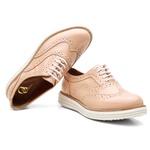 Sapato Oxford Plataforma Feminino Couro Nobuck 300 Nude Verniz