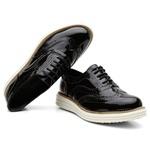 Sapato Oxford Plataforma Feminino Couro Nobuck 300 Preto Verniz