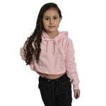 Cropped Moletom Feminino Infantil Liso Blusa Casaco Rosa