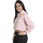 Cropped Moletom Feminino Liso Blusa Casaco Rosa