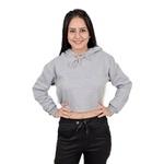 Cropped Moletom Feminino Liso Blusa Casaco Cinza