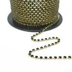 Corrente Ss16 / Pl32 - Pedra Diamante Negro, Banho Dourado.