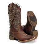 Bota Texana Feminina Mangalarga em Couro Legítimo Bico Quadrado Laser Conhaque Escuro Palmilha Antibacteriana