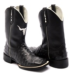 Bota Texana Masculina Replica de Avestruz Preto Bico Quadrado