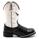 Bota Texana Masculina Replica de Avestruz Preto e Branco Couro Legítimo Bico Quadrado