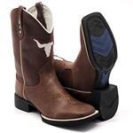 Bota Texana Masculina Bull em Couro Legítimo Bovino Marrom Bico Quadrado