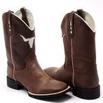 Bota Texana Masculina Bull Marrom Bico Quadrado