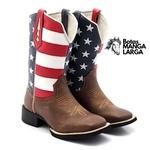 Bota Texana Masculina Couro Café Bordada Americana Bico Quadrado