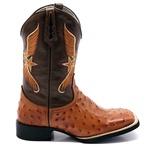 Bota Texana Masculina em Couro Legítimo Réplica de Avestruz Pinhão Bico Quadrado