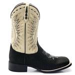 Bota Texana Masculina Couro Legítimo Bovino Black Snake Bico Quadrado Solado Preto
