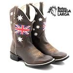 Bota Texana Masculina em Couro Legítimo Britânica Bico Quadrado