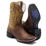 Bota Texana Masculina em Couro Mostarda Escuro Bico Quadrado