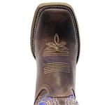 Bota Texana Masculina em Couro Legítimo Bordado Índio Azul Solado Marrom Bico Quadrado