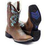 Bota Texana Feminina em Couro Legítimo Marrom Bordado Azul Bico Quadrado