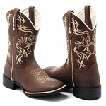 Bota Texana Feminina em Couro Legítimo Marrom Bordado Bege Bico Quadrado