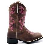 Bota Texana Feminina Em Couro Legítimo Marrom Bordado Rosa Bico Quadrado