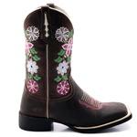 Bota Texana Feminina Floral Bico Quadrado