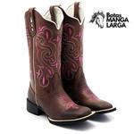 Bota Texana Feminina Hopper em Couro Legítimo Cano Alto Bordada Rosa