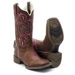 Bota Texana Feminina Hopper em Couro Legítimo Bico Quadrado Rosa Solado Café