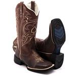 Bota Texana Feminina Hopper em Couro Legítimo Bico Quadrado Bege