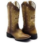 Bota Texana Feminina Hopper em Couro Legítimo Conhaque