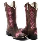 Bota Texana Feminina Hopper em Couro Legítimo Bordado Escudo Florido Solado Preto