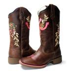 Bota Texana Hopper Cano Alto Couro Crazy Horse Café Ferradura Rosa Solado Marrom Bico Quadrado