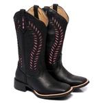 Bota Texana Feminina Bico Quadrado Black Pink