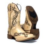 Bota Texana Feminina Mangalarga com Desenhos a Laser Bico Quadrado Solado