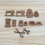 Botões MDF Coleção Amo Costura