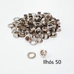 Ilhós com arruela n° 50 - Niquelado (pacte 50 unidades de cada)