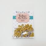 Ilhós n° 54 colorido de alumínio com arruela - Amarelo (pacte 50 unidades de cada)