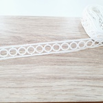 Renda entremeio bolinha R-0996 - Branco (pacte de 3 metros)