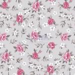 Tecido Tricoline Floral Lúcia - Cinza e Rosa