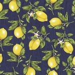 Tecido Tricoline Limão Siciliano - Marinho