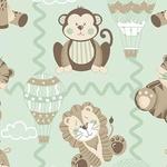 Tecido Tricoline Bichinhos Baby - Menta