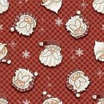 Tecido Tricoline Digital Rosto Noel Fundo Vermelho - (Natal)