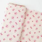 Tecido Cambraia de Linho Floral - Rosa