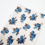 Tecido Linho Misto Estampado - Floral Azul