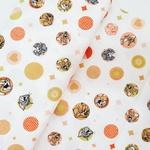 Tecido Tricoline Tom Jerry círculo laranja