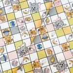 Tecido Tricoline Tom Jerry quadriculado fd bege cl
