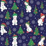 Tecido Tricoline 100% algodão Boneco de Neve fundo azul - (Natal)